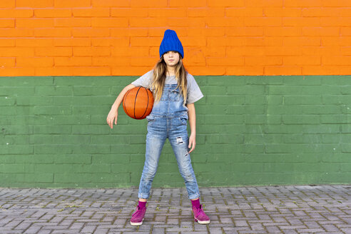 Sevilla, Spain, kid, girl, playing with a basketball, street - ERRF01227