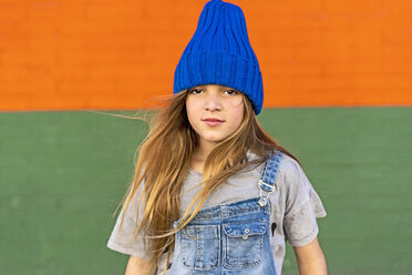 Portrait of young girl with blue woolly hat - ERRF01251