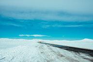 Snow covered road, Kálfafell, Vestur-Skaftafellssysla, Iceland - CUF51195