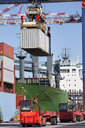 Crane lifting cargo container at commercial dock - JUIF01021