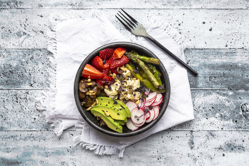 Veggie bowl with quinoa, vegetables, feta, strawberries, avocado, pine nuts and cress - SARF04252