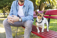 Dog on park bench with his owner - WPEF01503