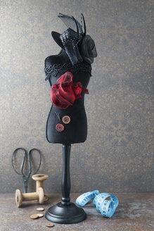 Dressmaker's model with hat and sewing items - MYF02104