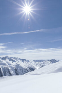 Austria, Tyrol, between Ischgl and Galtuer, view to snowy mountains on a sunny day - MMAF00930