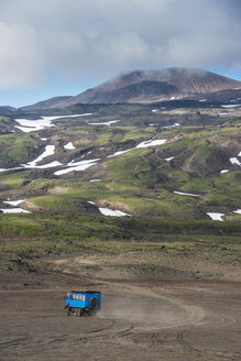 Truck driving through the lava sand, Gorely volcano, Kamchatka, Russia - RUNF01983