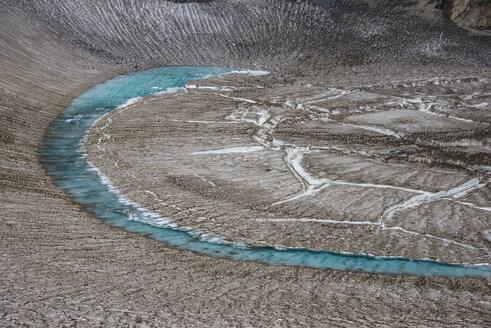 Russia, Kamchatka, blue glacial water in a glacier on Mutnovsky volcano - RUNF01989