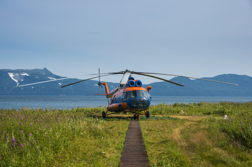 Russian helicopter on the Kurile lake, Kamchatka, Russia - RUNF02012