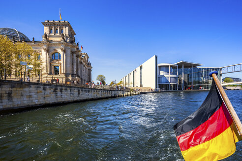 Germany, Berlin, Reichstag with Spree and German Flag - PUF01444
