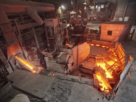Industry, Workers controlling smelting process - CVF01230