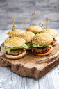 Mini-Burger with mincemeat, salad, cucumber and tomato on wooden tray - SARF04278