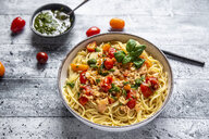 Spaghetti with tomato salmon sauce and ramson pesto - SARF04283