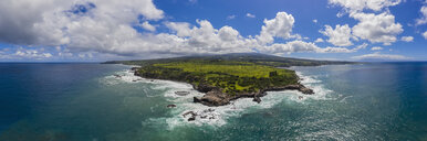 Aerial view over Pacific Ocean and West Maui Mountains, Punalau, Maui, Hawaii, USA - FOF10739