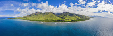 Aerial view over West Maui Mountains and Pacific Ocean with Puu Kukui along the Hawaii Route 30, Maui, Hawaii, USA - FOF10748