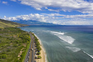 Aerial view over West Maui Mountains, Pacific Ocean and the coast along the Hawaii Route 30, Maui, Hawaii, USA - FOF10751