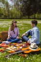 Young couple having a picnic with healthy food in a park - MGIF00454