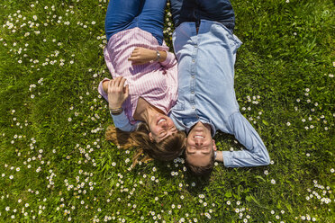 Happy young couple relaxing on grass in a park, overhead view - MGIF00475