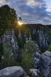 Germany, Saxony, Elbe Sandstone Mountains, Bastei area, Raaber Kessel at sunset - RUEF02191