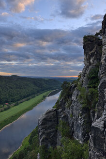 Germany, Saxony, Elbe Sandstone Mountains, view from the Bastei to the Elbe River and Elbe Valley at dusk - RUEF02194