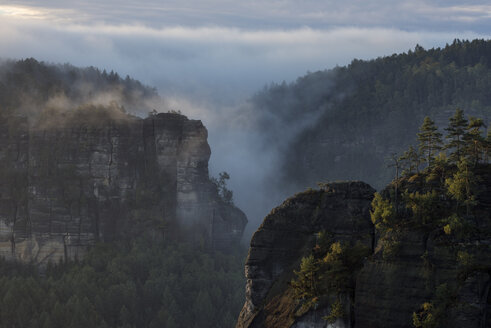 Germany, Saxony, Elbe Sandstone Mountains, view from Gleitmannshorn to sandstone rocks with fog at sunrise - RUEF02221