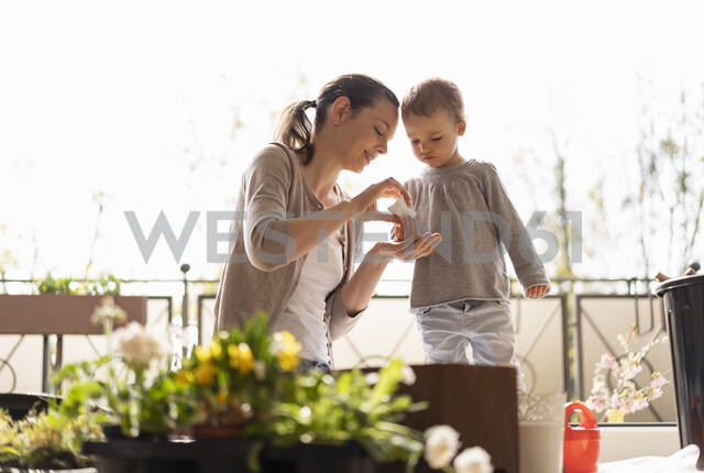 Mother and daughter planting flowers together on balcony - DIGF07034 - Daniel Ingold/Westend61