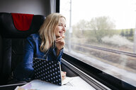 Laughing blond woman with notebook travelling by train looking out of window - HMEF00380