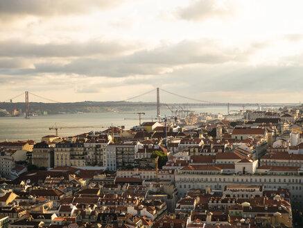 View over the city with Ponte 25 de Abril Tejo River from Miradouro da Nossa Senhora do Monte, Lisbon, Portugal - AMF07016
