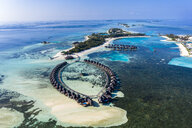 Aerial view over Olhuveli and Bodufinolhu with Fun Island Resort, South Male Atoll, Maldives - AMF07031
