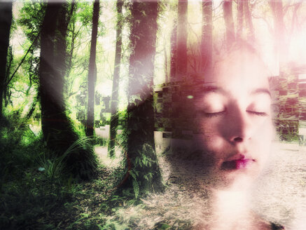 Double exposure of face of Mixed Race girl in forest - BLEF03715