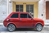 Parked red vintage car, Havana, Cuba - HSIF00608