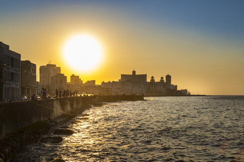 View to Malecon at sunset, Havana, Cuba - HSIF00620