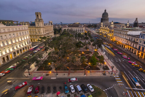 View to Parque central at twilight from above, Havana, Cuba - HSIF00635