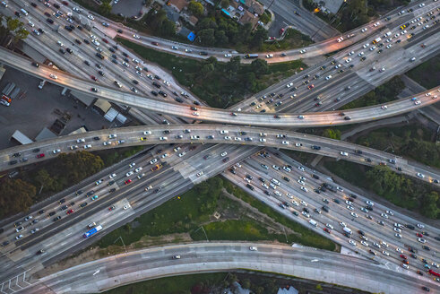 Aerial view of highway interchange in cityscape - BLEF04105
