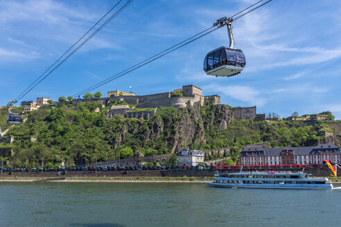 View of Ehrenbreitstein Fortress with River Rhine, Koblenz, Germany - MHF00509