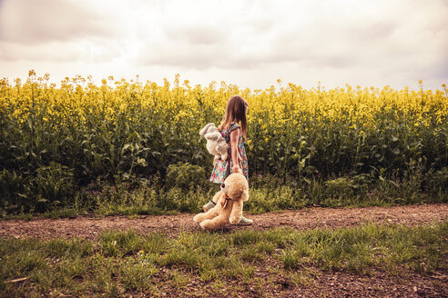Girl walking alone with teddy and backpack on a field way - SEBF00104