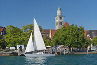 Pier with minster and sailing boat, Ueberlingen, Lake Constance, Germany - SH02189