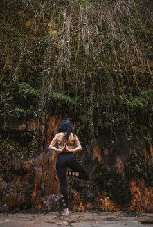 Rear view of woman practicing yoga in nature - LJF00008