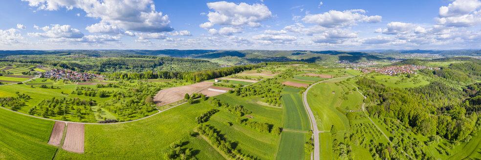 Aerial view of fields, Swabian Forest, Rems-Murr-Kreis, Germany - STSF01986