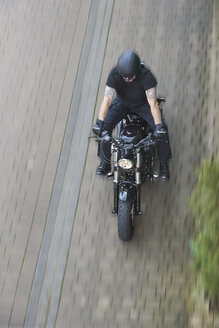 Motorcyclist on Harley Davidson Sportster 48, from above - BSCF00602