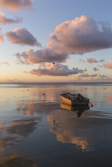 Fishing boat on the sea at sunrise, Curonian Spit, Lithuania - IHF00049
