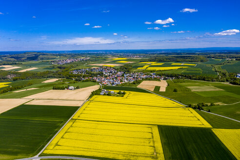 Aerial view of rape fields and cornfields near Usingen and Schwalbach, Hesse, Germany - AMF07050