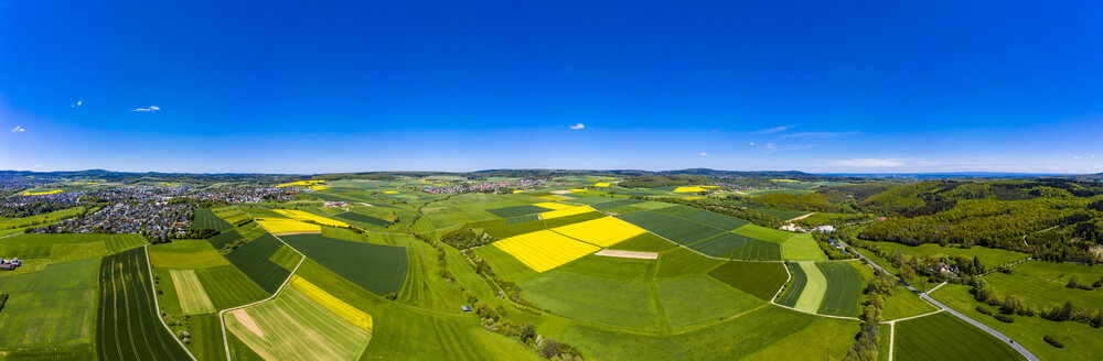 Aerial view of rape fields and cornfields near Usingen and Schwalbach, Hesse, Germany - AMF07056