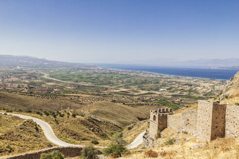 View from ancient castle fortress Acrocorinth, Corinth, Greece - MAMF00697