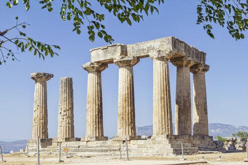 archäologische Ausgrabungsstätte antikes Korinth, archaischer Apollon Tempel, dorische Säulen, Argolis, Peloponnes, Griechenland - MAMF00706