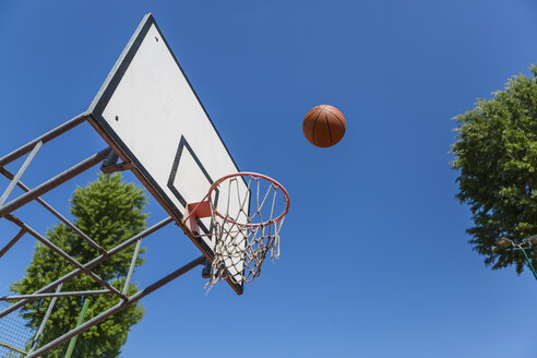 Basketball and hoop, blue sky - MGIF00491