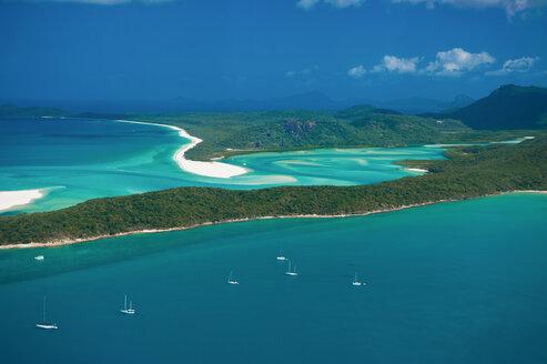 Aerial view of Whitehaven Beach, Whitsunday Islands, Queensland, Australia - RUNF02263