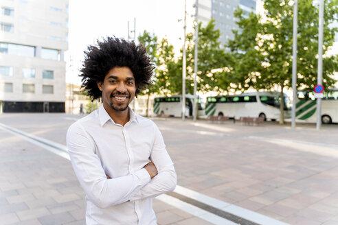 Portrait of confident businessman in the city, Barcelona, Spain - AFVF03091