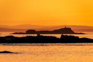 View across North Berwick Harbour towards Fidra Island and Lighthouse, North Berwick, East Lothian, Scotland - SMAF01251