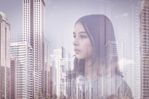 Double exposure of mixed race girl over Palmerston North cityscape, Manawatu, New Zealand - BLEF06529