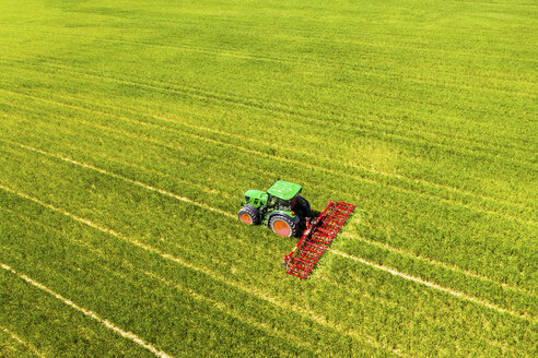 Aerial view of tractor on field, soil loosening, Hochtaunuskreis, Hesse, Germany - AMF07072