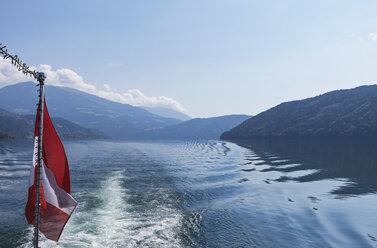 Austrian Flag on a boat, Millstatt Lake, Carinthia, Austria - GWF06082
